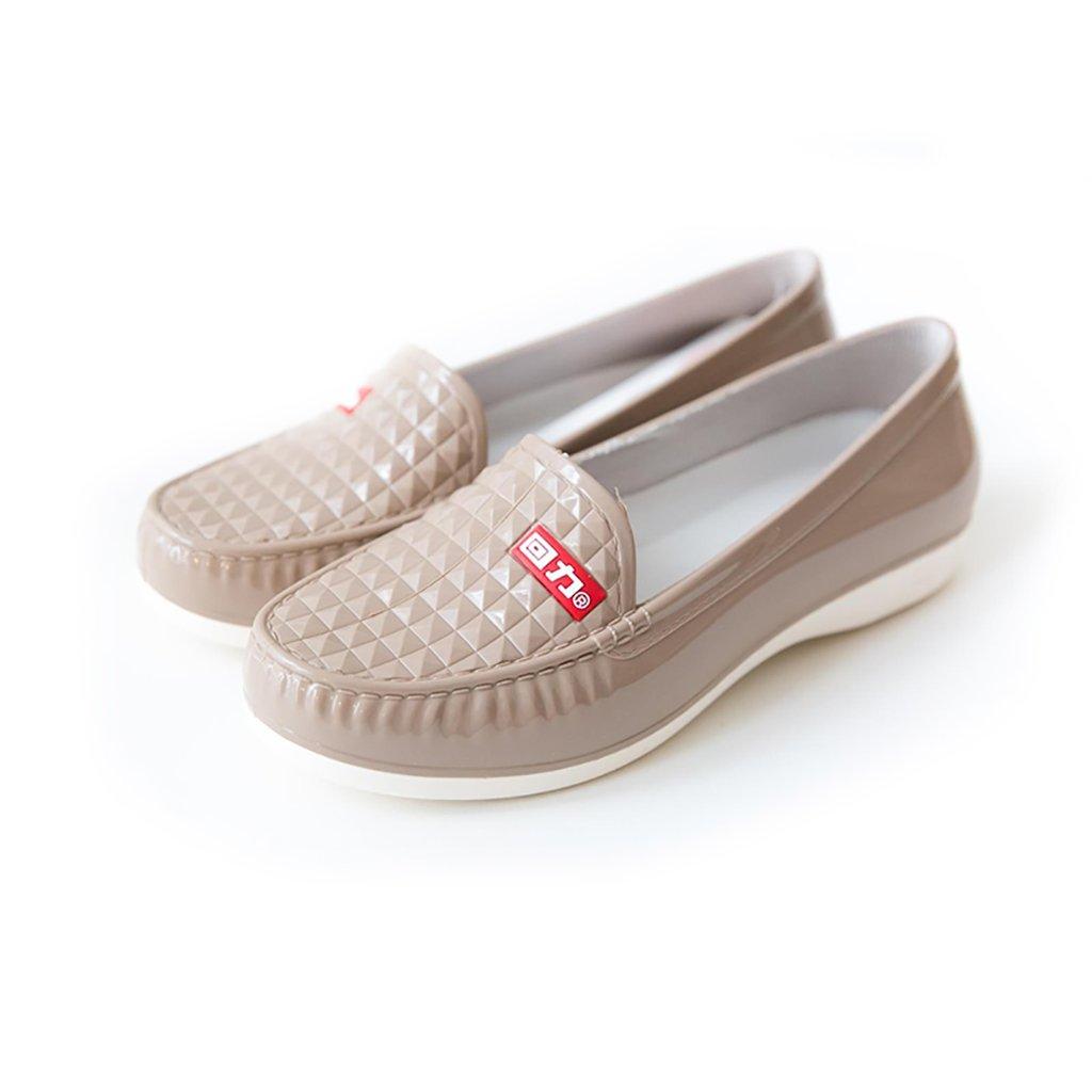 Regenstiefel der Frauen, Flache Stiefel der Frauen Regenstiefel, Rutschfeste Aufladungen, Art- und Weisewasser-Schuhe (Farbe : A, Größe : 38)