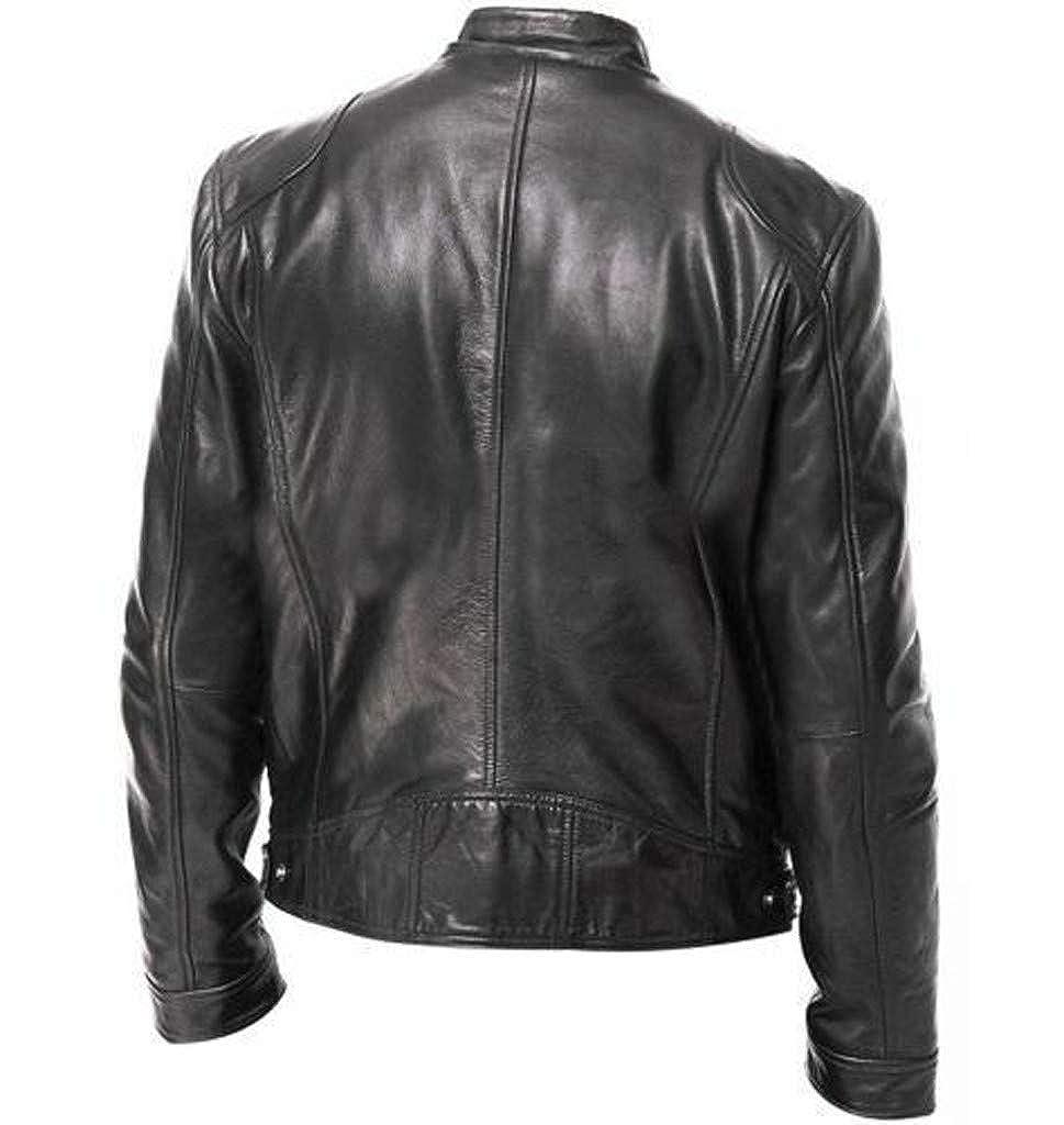 GIVEKI Giubbotto Pelle Uomo Vintage Motociclista Giacche Impermeabile Antivento Corto Cappotto Stand Collar Maniche Lunghe Cool Jacket Autunno Inverno Antivento Caldo Outwear