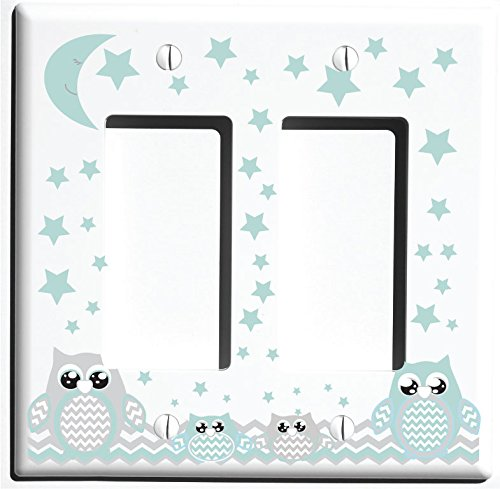 Double Rocker Grey and Seafoam Green Owl Light Switch Plate Covers and Outlet Covers/Owl Nursery Decor (Double Rocker Owl)