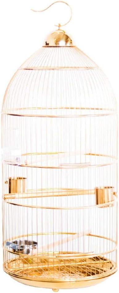 xiaokeai Jaula de Loros Realzada Europeo del Acero Inoxidable de la Jaula de pájaro del Loro Myna Mediano y Grande Bird Ronda Jaula de Oro 45 * 95cm Jaula de pájaros