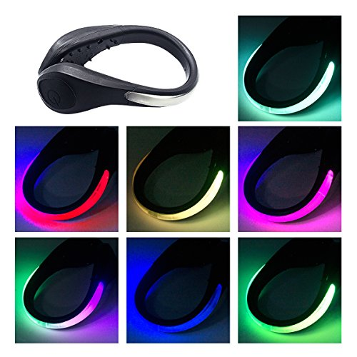 TEQIN Black Shell Colorful LED Flash Shoe Safety Clip Lights for Runners & Night Running Gear - Reflective Running Gear for Running, Jogging, Walking, Spinning or Biking + Velvet Bag - (Set of 2) by TEQIN (Image #1)