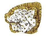 Onyx Arrow Baby Blanket, White Gold Metallic Dot Cotton Print, Gold Minky Dot, Satin Ruffle Trim, Mix and Match