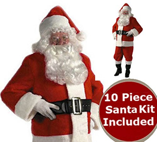 Santa Suit - Rental Quality Red Ultra Velvet Deluxe - Santa Costume Outfit - Complete 10 Piece Kit