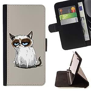 Momo Phone Case / Flip Funda de Cuero Case Cover - Gato siamés Dibujo Angry Blue Eyes Moody - Samsung ALPHA G850