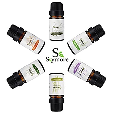 Gift Set Essential Oils Natural, Fragrance Oils, Aromatherapy Humidifiers Use, Top 6 Pure Therapeutic Grade Essentials, 6/10mL-Lavender, Sweet orange, Peppermint, Lemongrass, Tea tree, Eucalyptus