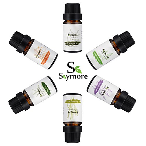 Gift Set Essential Oils Natural, Fragrance Oils, Aromatherapy Humidifiers Use, Top 6 100% Pure Therapeutic Grade Essentials, 6/10mL-Lavender, Sweet orange, Peppermint, Lemongrass, Tea tree, Eucalyptus