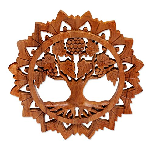 NOVICA Grape Vine and Flower Hand Carved Round Wood Wall Sculpture, Brown, Life Tree'
