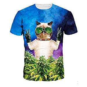 Unisex Sunglasses Cat 3D Printed Short Sleeve T-Shirts Graphic Tees Top S