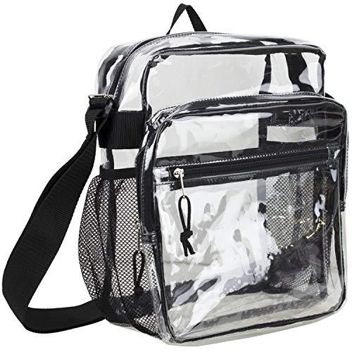 Eastsport Clear Stadium Messenger Bag with Adjustable Crossbody Strap, Approved for NFL, PGA, NCAA, Transparent Bag - (Best Eastsport Messenger Bags)