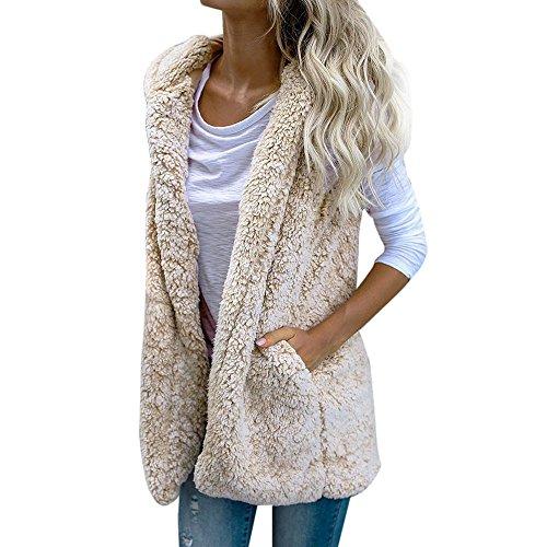 (Kimloog Womens Fuzzy Sleeveless Cardigan Hoodie Fleece Open Front Warm Vest Outwear Jacket with Pockets (XL, Beige))
