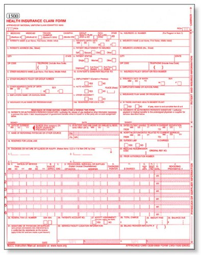 CMS 1500 / HCFA 1500 Medical Billing forms (50 Sheets)