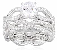 Sterling Silver Swarovski Zirconia Round Cut Bridal Wedding Ring Set by Elite Group International NY Inc.- ACC