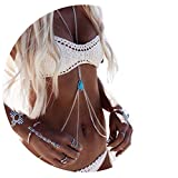 Fashion Women Sexy Golden Body Belly Waist Charm Chain Beach Pendant Necklace (Silver)