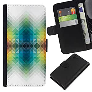 All Phone Most Case / Oferta Especial Cáscara Funda de cuero Monedero Cubierta de proteccion Caso / Wallet Case for Sony Xperia Z3 D6603 // Vibrant White Polygon Colors