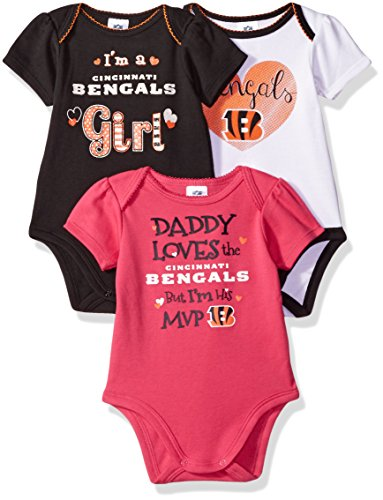 Cincinnati Bengals Baby Clothes - NFL Cincinnati Bengals Baby-Girls 3-Pack Short Sleeve Bodysuits, Gray, 0-3 Months