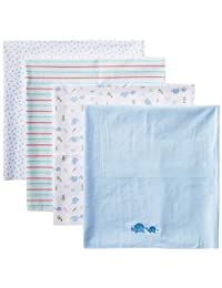 Spasilk Unisex Baby 4 Pack 100% Cotton Flannel Receiving Blanket