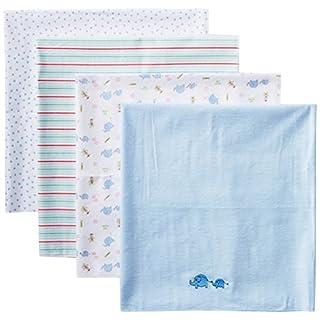 Spasilk Unisex Baby 4 Pack 100% Cotton Flannel Receiving Blanket — Baby Boy or Baby Girl Shower Gift