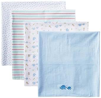Spasilk Baby-Boy Newborn 4 Pack Flannel Receiving Blanket, Blue Elephant, 30 Inchx30 Inch