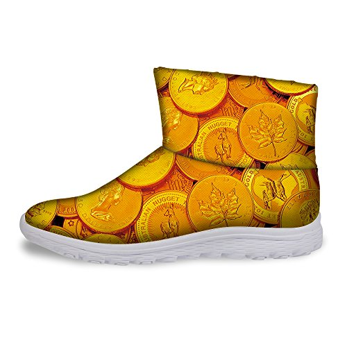 FOR U DESIGNS Fashion Gold Coin Money Style Short Ankle Warm Winter Boots for Women Yellow 1