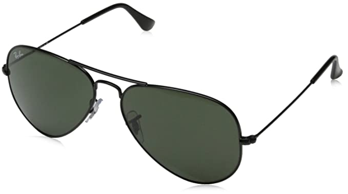 Ray-Ban 0RB3025 Aviator Metal Non-Polarized Sunglasses, Black/ Grey Green,