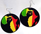 Afrocentric Black Power Fist Africa Wooden Earrings