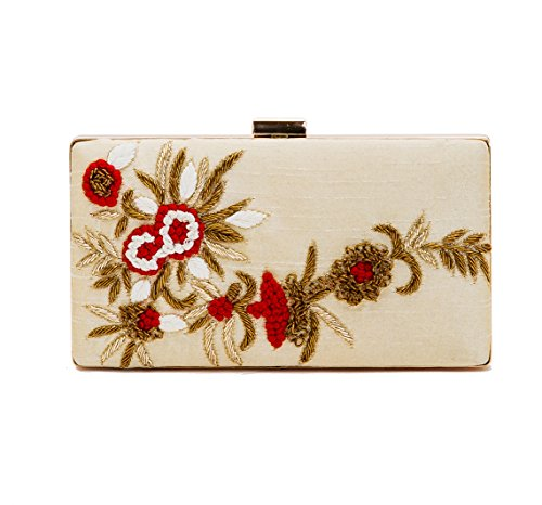 Taupe Silk Clutch with Floral Embroidery and Beaded Appliqué