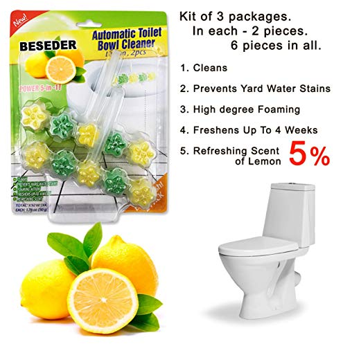 - Automatic Toilet Bowl Cleaner Rim Hanger Lemon 2 pcs (Pack of 3) with Stronger Long-Lasting Lemon Scent at Full 5%. Foaming 5-in-1 Cleaner Deep Cleans With Every Flush