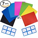 7 Pack Stretchable Book Covers JUMBO size by PerfecCover Durable, Washable, Reusable and Protective Jackets for Hard Cover Schoolbooks, Textbooks Multiple Colors With 12 Stick On Organization Labels