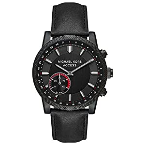 Michael Kors Access Men's 'Hutton Hybrid Smartwatch' Quartz Stainless Steel and Leather Casual Watch, Color Black (Model: MKT4025)