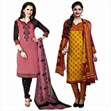 Rajnandini Women's Combo Of Cotton Printed Unstitched Salwar Suit Dress Material Free Size Black & Mustard