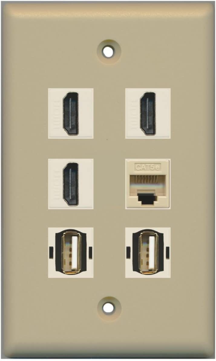 Brown 3 HDMI 2 Port USB A-A 1 Port Cat5e Ethernet Wall Plate RiteAV