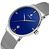 Blue Dial Watches For Men Fashion Date Slim Analog Quartz Bracelet Watches With Stainless Steel Mesh Band