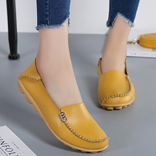 Vintage On Flats Loafers Casual Casual Slip Ladies Yellow Leather Genuine Shoes Women Shoes AxTSqH