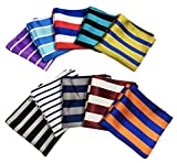 MENDENG Men's 10 Pack Mixed Color Striped Plaid Pocket Square Party Handkerchief