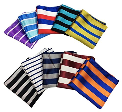 MENDENG Men's 10 Pack Mixed Color Striped Plaid Pocket Square Party Handkerchief by MENDENG