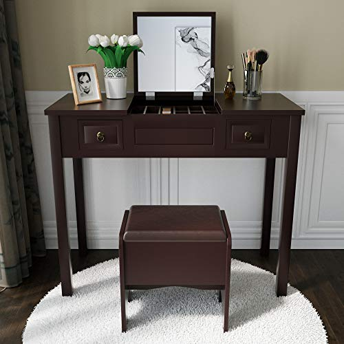 Amooly Vanity Set with Flip Top Mirror Makeup Dressing Table Writing Desk with 2 Drawers Cushioned Stool 3 Removable Organizers Easy Assembly in Brown