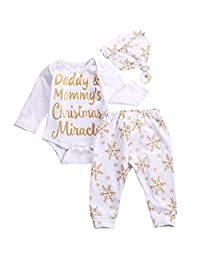 3PCS Babys Christmas Miracle Bodysuit Romper With Snowflake Pant And Hat Outfits