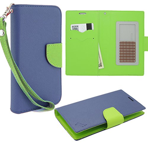 HJ POWER[TM] ZTE Zephyr (Z752C) CT2 Leather PU WALLET POUCH Cover + [Free HJ POWER Stylus] WPUNI45CT2-Blue