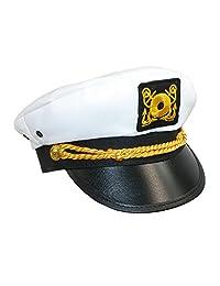 CTM® Kids' Cotton White Nautical Boating Captains Cap