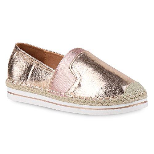 Stiefelparadies Damen Espadrilles Metallic Slipper Bast Profilsohle Flats Freizeit Schuhe Glitzer Prints Spitze Flandell Rose Gold Metallic Bast