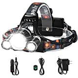LED Headlamp, 5000 Lumens Max} 4 Modes Waterproof Head Flashlight Light with 2 Rechargeable, USB Cable, Wall Charger and Car Charger for Outdoor Sports
