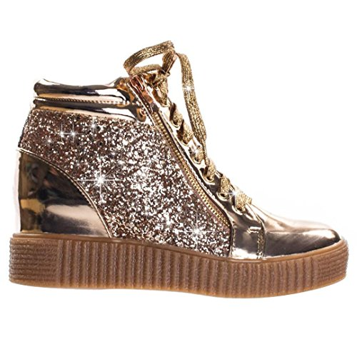 Best Rose Gold High Top Fashion Sneaker Christmas Uniform Lace Up Glitter Wedge Crepe Sole Material Modern Trendy Bedazzled Studded Slip On Bootie Shoe for Sale Women Teen Girl (Size 7, RGold) (Childrens Sole Shoes Crepe)