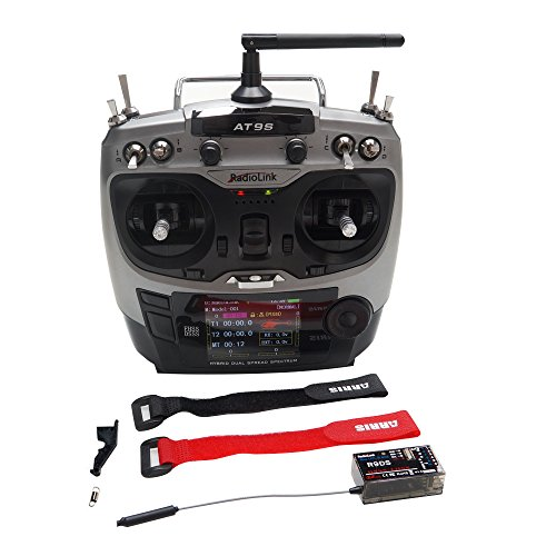 ARRIS Radiolink AT9S 10CH 2.4GHz Transmitter + R9DS Receiver Support S-Bus PPM PWM for RC Airplane Quadcopter Helicopter (Free Battery Straps)