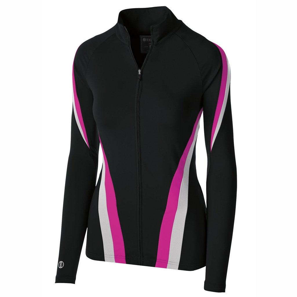 Holloway Dry Excel Ladies Aerial Semi Fitted Jacket (Small, Black/Silver/Power Pink) by Holloway