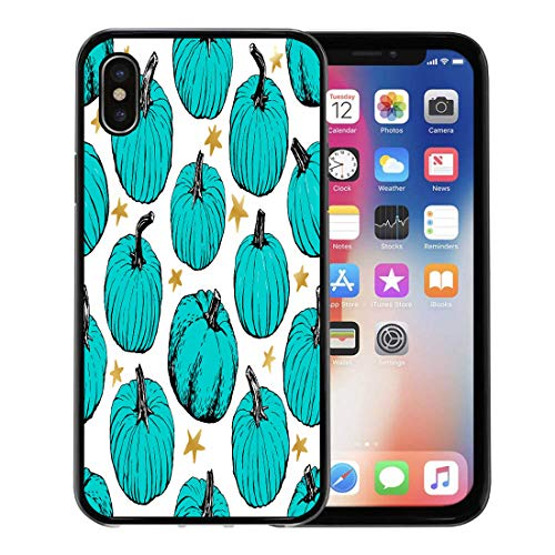 Semtomn Phone Case for Apple iPhone Xs case,Food Allergy Pumpkin Teal in Front of Homes During Halloween is Symbol to Parents Children Allergies for iPhone X Case,Rubber Border Protective -