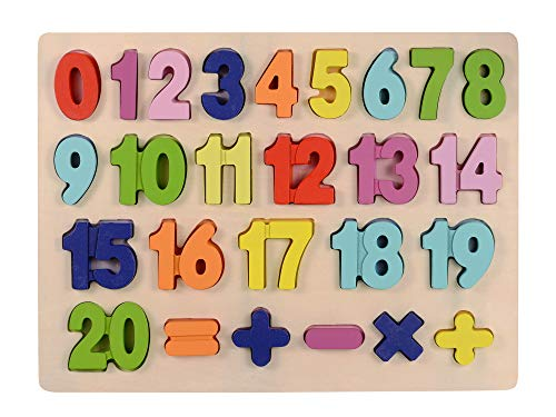 (Afunti Wooden Numbers Puzzle Learning Puzzle Board - Learn to Count with Colorful Chunky Numbers for 2-3 Years Old Toy 25Pieces)