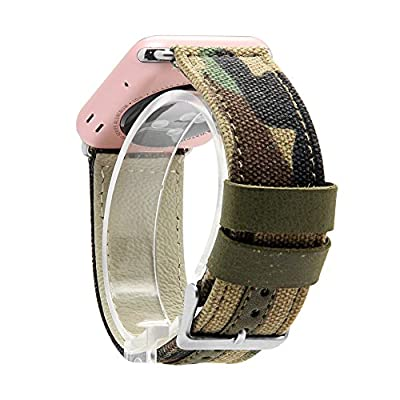 Apple Watch Band, V-MORO Canvas Fabric Genuine Leather Smart Watch band Replacement With Adapter Metal Clasp for Apple Watch iWatch All Models