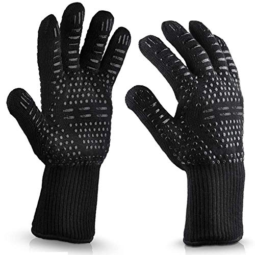 1 Pair BBQ Cooking Gloves Outdoor Wear-Resisting Oven Glove- Heatproof Adiabatic Silicone Glove 932°F Extreme Heat Resistant Gloves For Indoor & Outdoor Professional Grilling, Baking (Black)