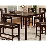 Counter Height Dining Table With Butterfly Leaf In Dark Brown Finish