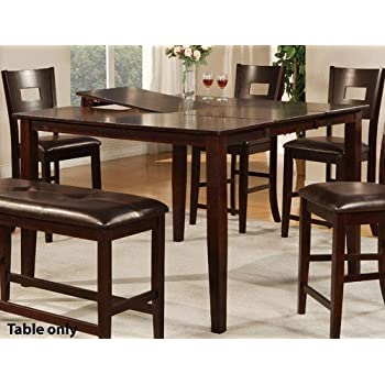 Etonnant Counter Height Dining Table With Butterfly Leaf In Dark Brown Finish